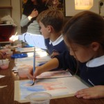 "Children at St. Francis Solano School, Sonoma CA working on the ""Horses"" lesson for 5th Grade."
