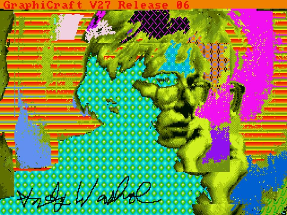 A self-portrait of Warhol, edited with the Amiga computer.
