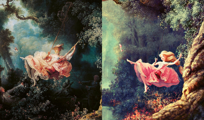 "On the left: Fragonard's original painting, ""The Swing."" On the right: concept art for Disney's ""Tangled"" (2010)."