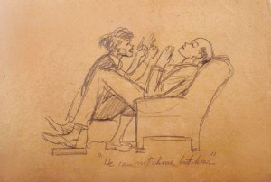 A sketch by Edward Hopper depicting his frustration with Jo. COURTESY ARTHAYER R. SANBORN HOPPER COLLECTION TRUST