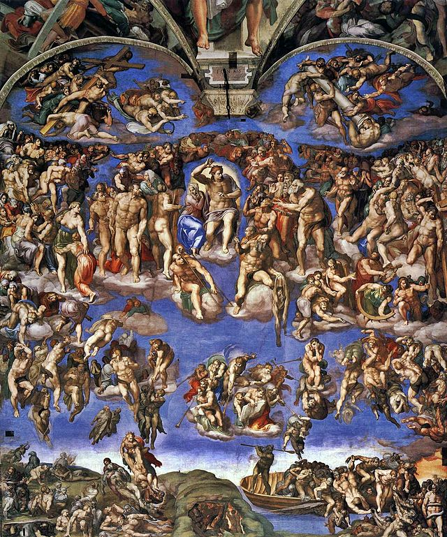 """""""The Last Judgment,"""" by Michelangelo. Sistine Chapel Altar Wall. 1536-1541."""