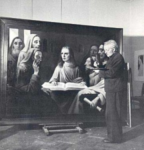"Van Meegeren painting his last forgery, ""Jesus Among the Doctors,"" in a Dutch court."