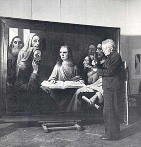"""Van Meegeren painting his last forgery, """"Jesus Among the Doctors,"""" in a Dutch court."""
