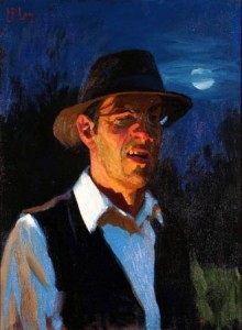 """Self Portrait with Moon,"" by Norman Long. BlindArt Collection."