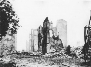 Remnants of the town of Guernica, post-bombing. (1937)