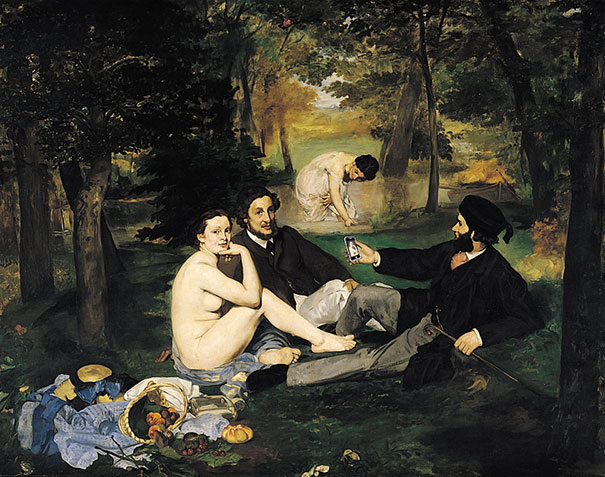 "A 21st-century reinterpretation of ""Luncheon on the Grass"" by Edouard Manet. Image created by Kim Dong-Kyu. Click to see more!"