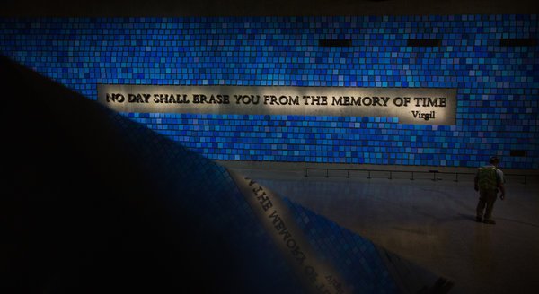 "Spencer Finch, ""Trying To Remember the Color of the Sky on That September Morning."" At the National September 11 Memorial Museum. Photo by Damon Winter, courtesy of New York Times"