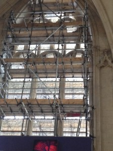 A view of the restoration going on in the Minster's Great East Window.