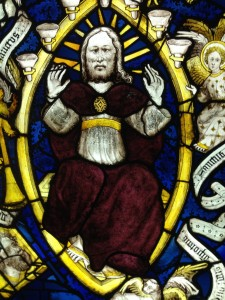 An image of God on his throne, from one of the windows featured in the Dome.