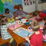 children working on Art Docent Program projects
