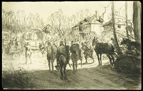 """American Soldiers on the March,"" by Wallace Morgan. Photo courtesy Smithsonian Institute."