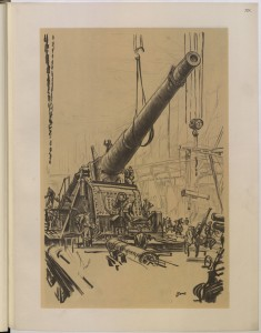 """Mounting a Great Gun,"" by Belgian artist Muirhead Bone. Photo courtesy British Library."