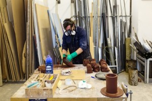 Creating vases out of toxic material requires the artists to use protection such as gloves and masks c/o The Guardian