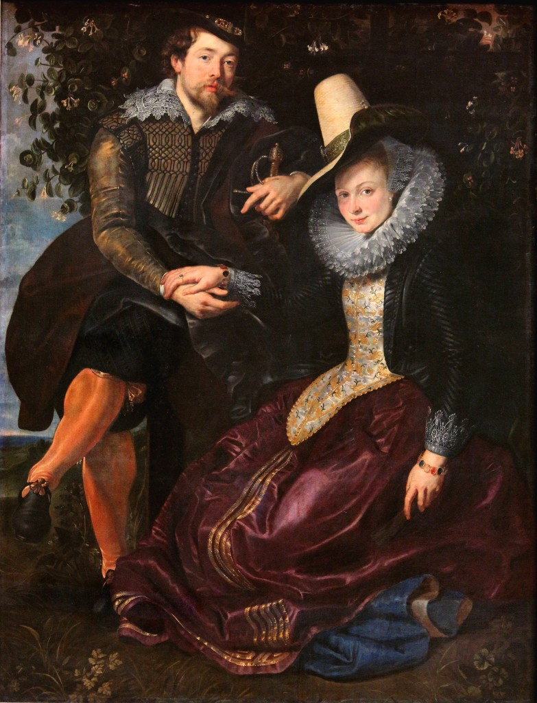 Rubens' Honeysuckle Bower portrait, featuring the artist and his wife holding hands while seated in a bower of honeysuckle flowers.