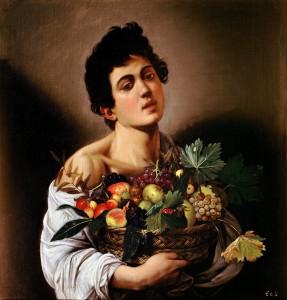 "Caravaggio, ""Boy with a Basket of Fruit,"" 1593, c/o wikimedia"