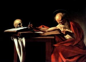 "Caravaggio, ""Saint Jerome Writing,"" 1606. c/o wikipedia"