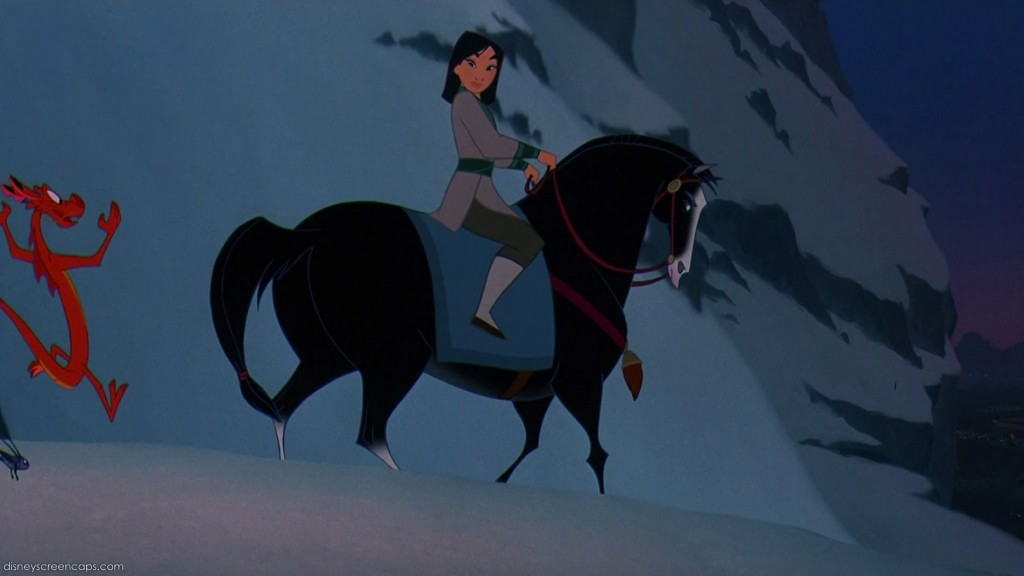 Mulan riding Khan the horse, c/o disneyscreencaps.com. Look at how similar his body structure is to the horse on the Wu family relief!