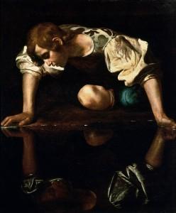 """Caravaggio, """"Narcissus,"""" 1597-99, c/o wikimedia"""