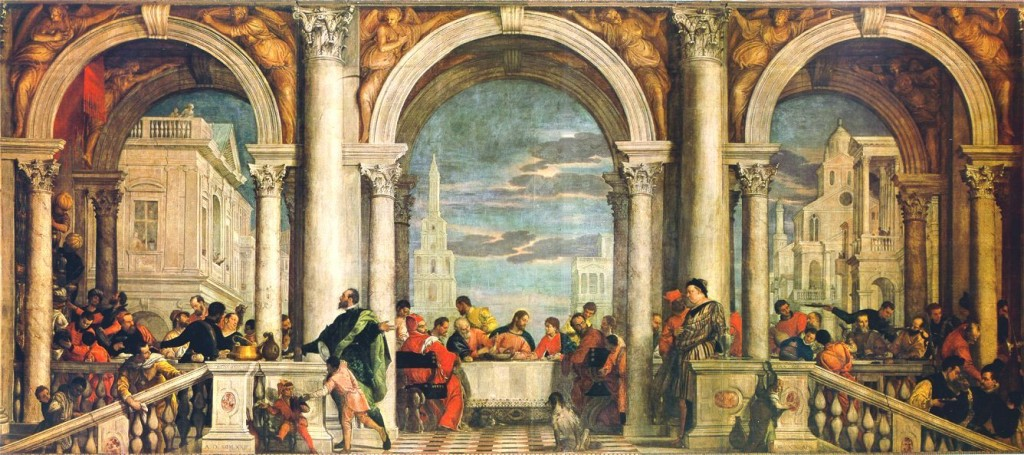 "Veronese's ""Feast in the House of Levi,"" originally a Last Supper painting, 1573. c/o wikipedia"
