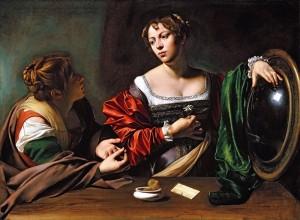 """Caravaggio, """"Martha and Mary Magdalene,"""" 1598. c/o artblart.wordpress.com"""