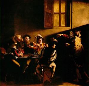 """Caravaggio's """"Calling of St. Matthew,"""" 1599-1600, c/o bc.edu"""