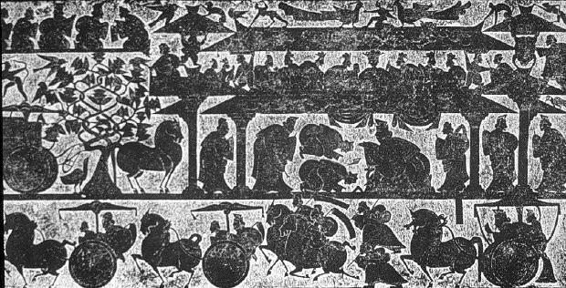A relief from the Wu family shrines, Jiaxiang, Shangdong, China c/o uchicago.edu. Take a close look at the horses.