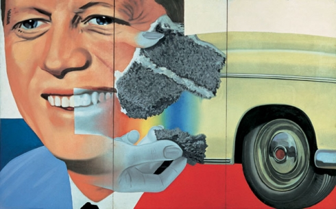 A portrait of JFK is layered among a piece of cake and a car in James Rosenquist's Pop Art piece.