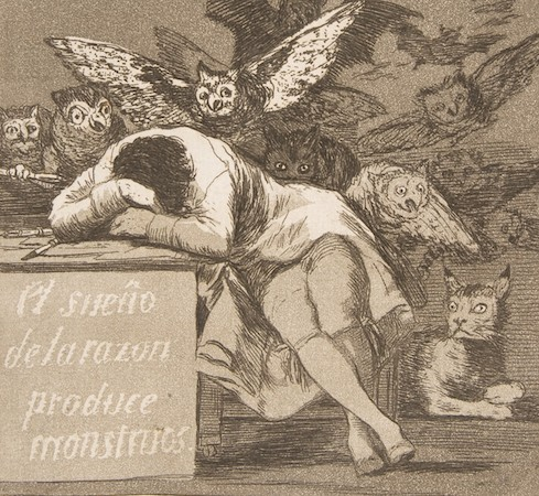 """Goya's """"The Sleep of Reason Produces Monsters,"""" which may mean something completely different than its title suggests. c/o khanacademy.org"""