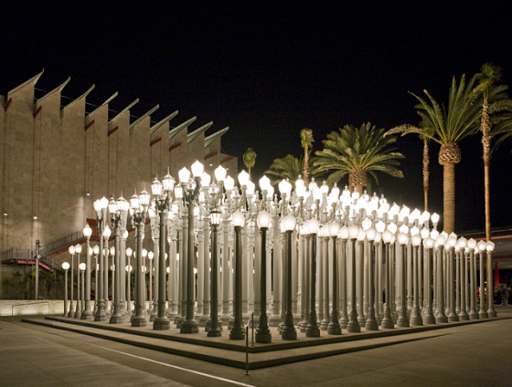 """Chris Burden's """"Urban Light"""" is possibly the most iconic piece at LACMA, which celebrates its 50th birthday this year. c/o collections,lacma.org"""