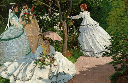 Detail from Monet's 1866 Women in the Garden. Note the seated woman's slightly-discolored face--which is how it would appear in the situation, given the reflection of natural light off of her bright white dress. Photo c/o frenchculture.org