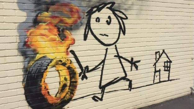 Banksy left this mural for Bristol schoolchildren as a present of sorts. Image c/o BBC.