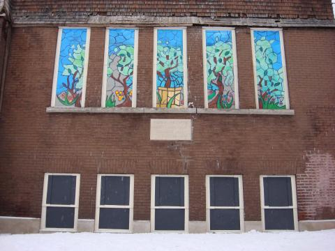 """A Toepfer artistic board-up in Minneapolis (""""Gethsemanie Garden""""). Image c/o Chris Toepfer and The Neighborhood Foundation"""