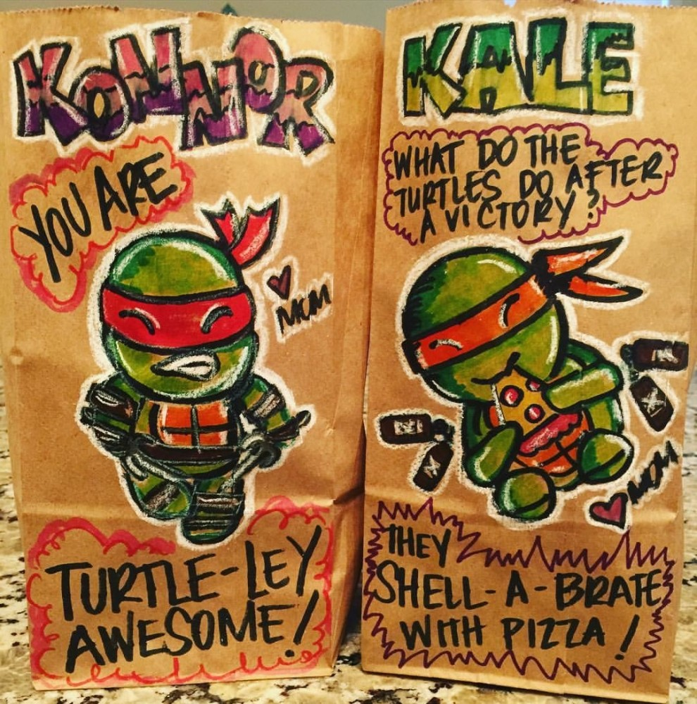Just of one Jenn Aguilar's punny brown bag art creations. Photo c/o Buzzfeed.