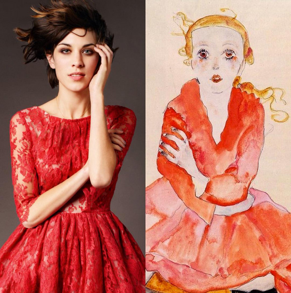 """Alexa Chung and """"Seated Girl Facing Front"""" by Egon Schiele (1911). Image c/o artlexachung and thepostman.it"""