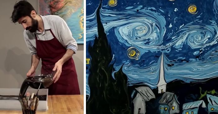 Ebru artist Garip Ay recreates van Gogh's Starry Night. Image c/o Bored Panda