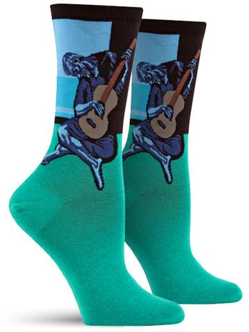 Picasso's The Old Guitarist...on socks. Image c/o The Sock Drawer.