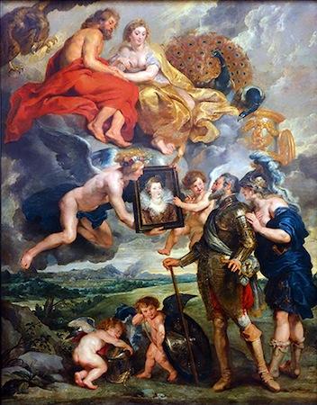 Rubens' The Presentation of the Portrait of Marie de' Medici. Image c/o Khan Academy.