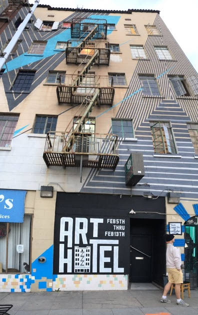 Jake Castro's mural work adorns the exterior of Art Hotel. Image c/o kcra.com.