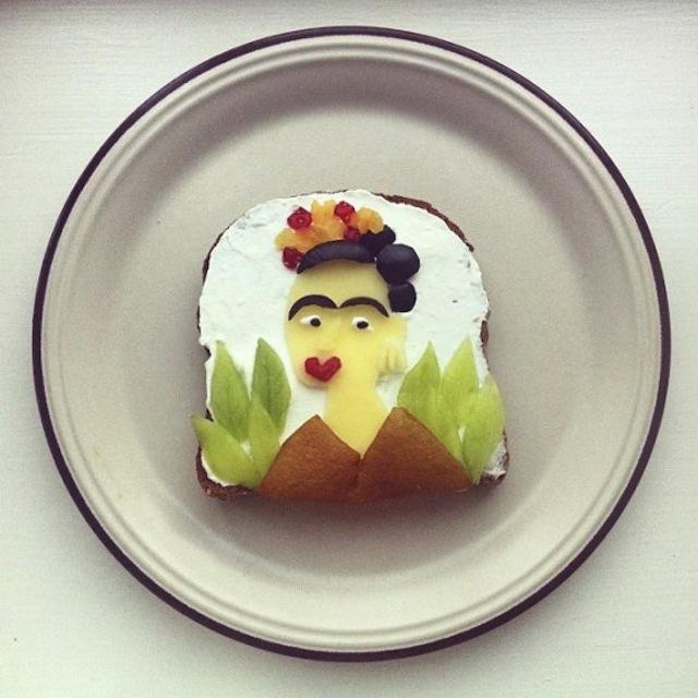 Ida Skivenes recreates famous art pieces on toast. Look--it's Frida Kahlo! Image c/o Hyperallergic and Ida Skivenes.