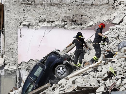 Rescue efforts like this one in Pescara del Tronto will soon receive funding from an unlikely source--all proceeds from ticket sales on Sunday, August 28, will go to help rescue efforts in central Italy's regions hardest-hit by the recent earthquake. Image c/o Gregorio Borgia, AP (USA Today).