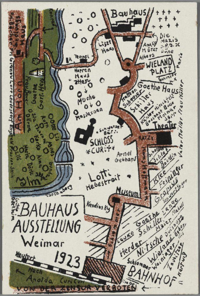 """Kurt Schmidt, """"Bauhaus Exhibition Postcard No. 19"""" (1923) (Harvard Art Museums/Busch-Reisinger Museum, Association Fund, BR49.640. Photo: Harvard Art Museums, © President and Fellows of Harvard College). Image c/o Hyperallergic."""