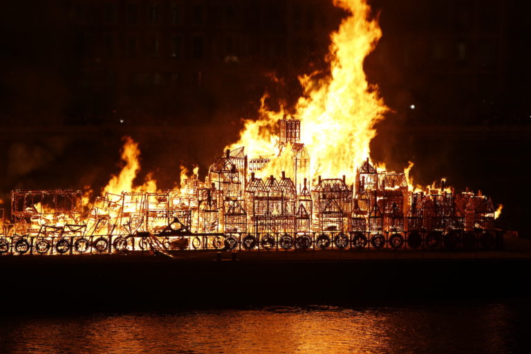 David Best's London 1666 is engulfed in flames--just as it was intended to be. Image c/o Hyperallergic, © Matthew Andrews 2016.