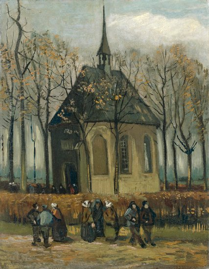 Van Gogh's 1884-85 Congregation Leaving the Reformed Church in Nuenen was recently recovered by the Italian government. Image c/o The New York Times and the Van Gogh Museum.