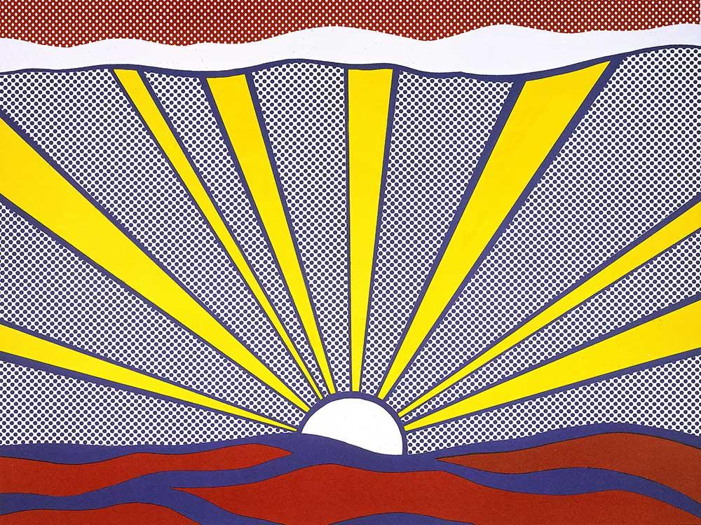 Roy Lichtenstein's well-known work Sunrise will be on display at the Skirball's Pop for the People exhibition. Image copyright Estate of Roy Lichtenstein, c/o the Skirball Cultural Center and the Estate of Roy Lichtenstein