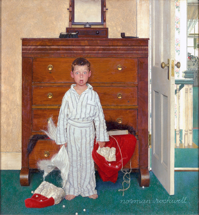Norman Rockwell's The Discovery is simultaneously earth-shattering and amusing--and definitive of the artist's holiday style. Image c/o About.com