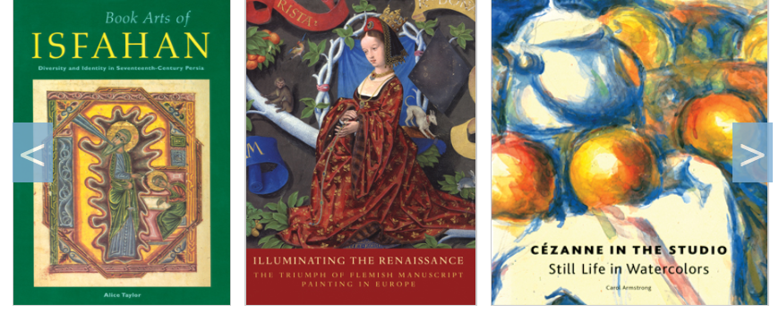 A screenshot of several books from Getty Publications' Virtual Library.