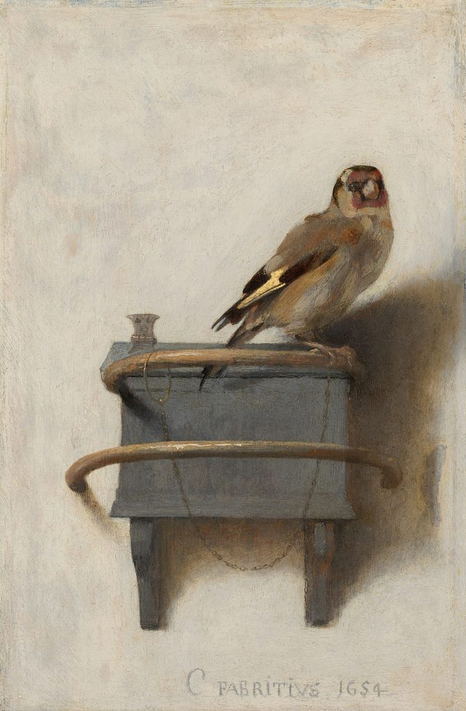 Carel Fabritius' 1654 painting, The Goldfinch. The painting features a goldfinch seated on a perch with a chain around its leg.