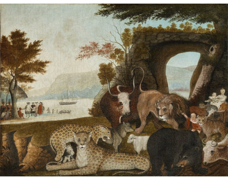 Edward Hicks, The Peaceable Kingdom, 1847, included in the Denver Art Museum's Stampede exhibit. Image c/o the Denver Art Museum.