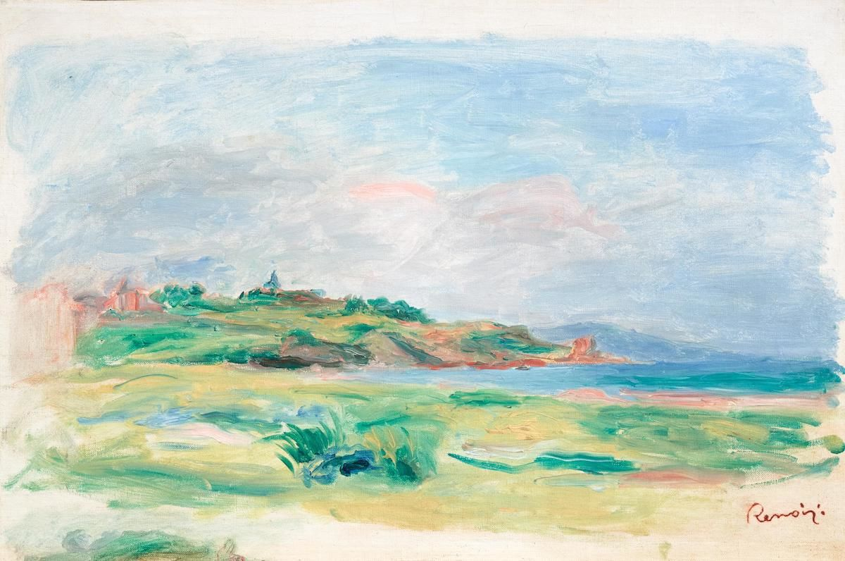 Renoir's Golfe, mer, falaises verts, which was stolen last week. Image c/o Wikimedia Commons.