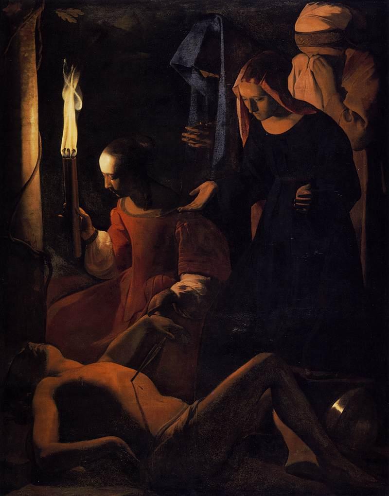 St, Sebastian Tended by Irene by Georges de la Tour.